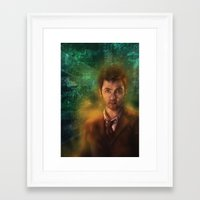 david tennant Framed Art Prints featuring 10th Doctor David Tennant by SachsIllustration