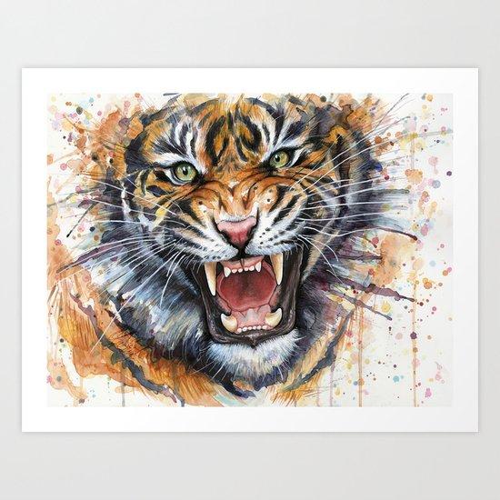 Tiger Roaring Wild Jungle Animal Art Print
