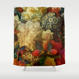 """""""Baroque Spring of Flowers and Butterflies"""" Shower Curtain"""
