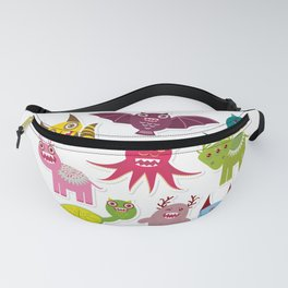 Sticker set Funny monsters collection on white background Fanny Pack