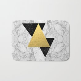 Marble Tri Black & Gold - gold foil, gold, marble, black and white, trendy, luxe, gold phone Bath Mat