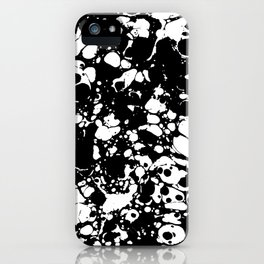 Black and white contrast ink spilled paint mess iPhone Case