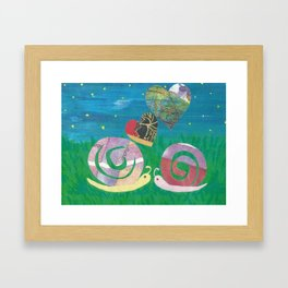 Snailing In The Right Direction Framed Art Print