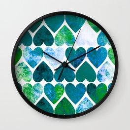Mod Green & Blue Grungy Hearts Design Wall Clock