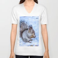 squirrel V-neck T-shirts featuring Squirrel  by Svetlana Korneliuk