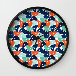 Rolly Polly Fish Heads Blue Wall Clock