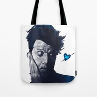 tom waits Tote Bags featuring Tom Waits - Blue Valentines by Brad Collins Art & Illustration