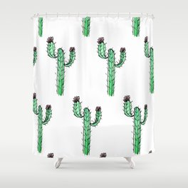 Cactus Flower II Pattern Shower Curtain
