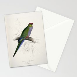 Purpureicephalus spurius -Platycercus pileatus Red-capped Parrakeet -by Edward Lear 1812-1888 Stationery Cards