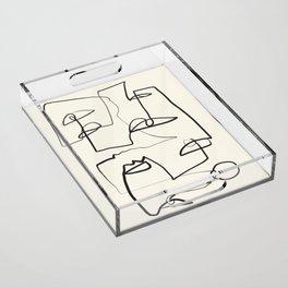 Abstract line art 12 Acrylic Tray