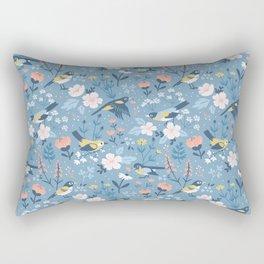Birds & Blooms (Blue) Rectangular Pillow