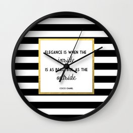 Coco Gold Square Elegance Quote Wall Clock