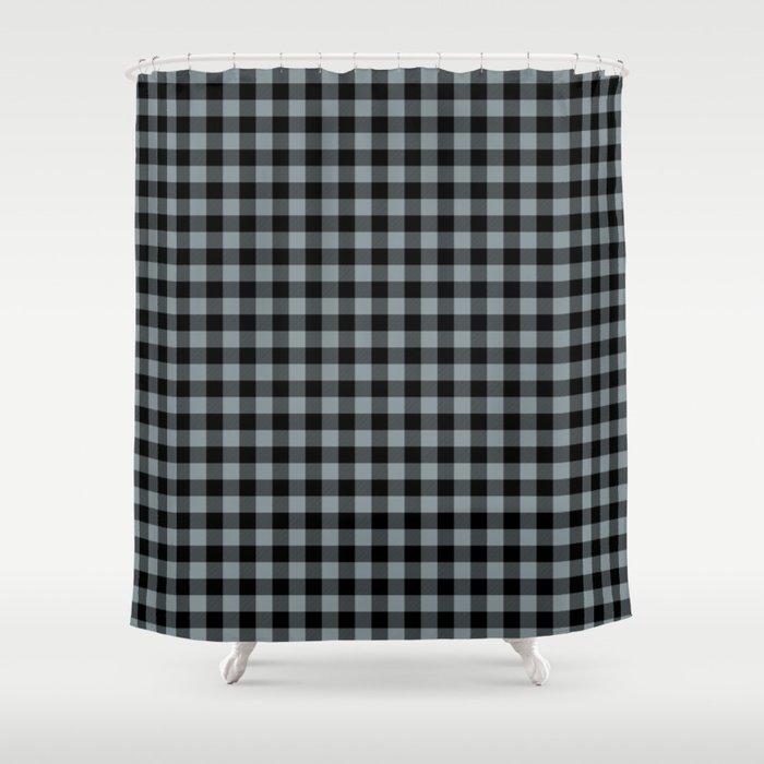 Dallas Football Team Silver And Black Color Buffalo Check Plaid Shower Curtain