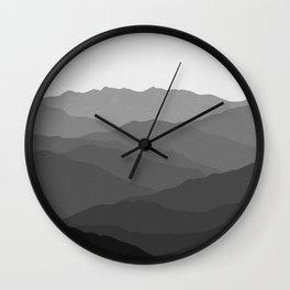 Shades of Grey Mountains Wall Clock