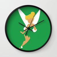 tinker bell Wall Clocks featuring Tinker Bell by Adrian Mentus
