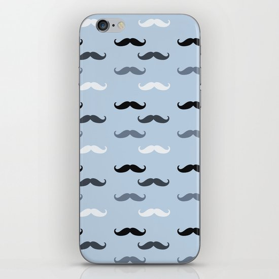 Cool Blue Mustaches iPhone & iPod Skin