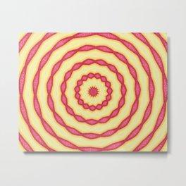 YELLOW AND PINK CIRCLES - MANDALA Metal Print