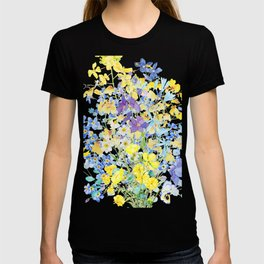 purple blue and yellow flowers bouquet watercolor   T-shirt