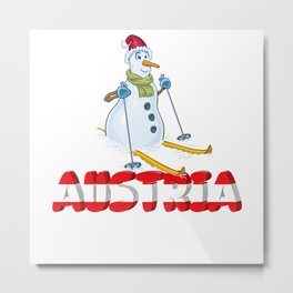 Austria Holiday Snowboarding Alps Mountains Gift Metal Print