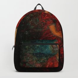Romance, A Portrait of a Woman in a Red Dress by Thomas Edwin Mostyn Backpack