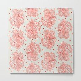 Red botanical floral pattern abstract polka dots Metal Print
