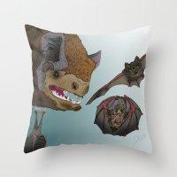 bats Throw Pillows featuring Bats by Akira Hikawa