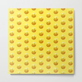 Drunk Face Emoji Pattern | Pop Art Metal Print