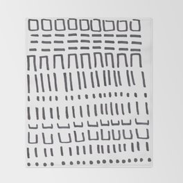 Ancient Tribal Marking Patterns Hand Drawn Pattern Symbols Shapes Black And White Throw Blanket