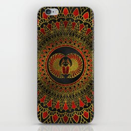 Egyptian Scarab Beetle - Gold and red  metallic iPhone Skin