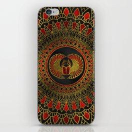 Egyptian Scarab Beetle - Gold and red  metallic iPhone Skin
