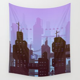 Future night skyline Wall Tapestry