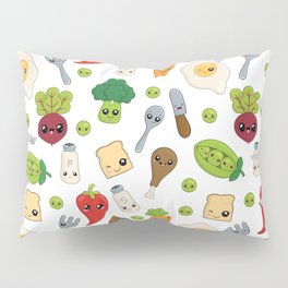 Cute Kawaii Food Pattern Pillow Sham