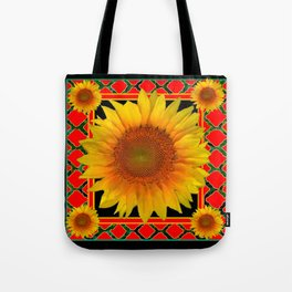 RED-TEAL BLACK  DECO YELLOW SUNFLOWERS Tote Bag