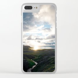 Westfjords July sunset Clear iPhone Case