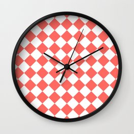 Diamonds - White and Pastel Red Wall Clock