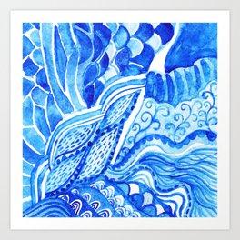 watercolor blue composition Art Print