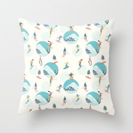 Winter drawing with skiers and snowboarders on the background of mountains. Throw Pillow