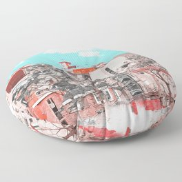 A water painting style photo of peaceful city view  Floor Pillow