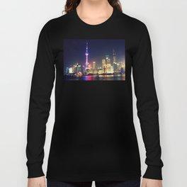 Shanghai Cityscape At Night Long Sleeve T-shirt