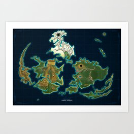 Final Fantasy VII - Shinra Airways World Map Art Print
