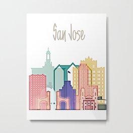San Jose colorful skyline design Metal Print