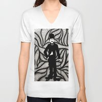 chaplin V-neck T-shirts featuring Charlie Chaplin by Gabrielle Wall