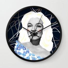 Marilyn in blue Wall Clock