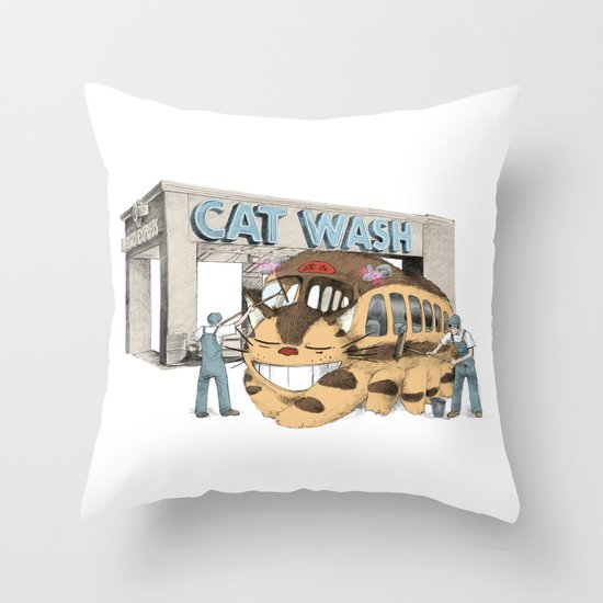 Cat Wash Throw Pillow