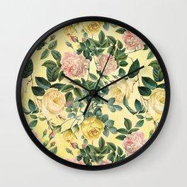 Vintage & Shabby Chic - Yellow Summer Roses Garden Wall Clock