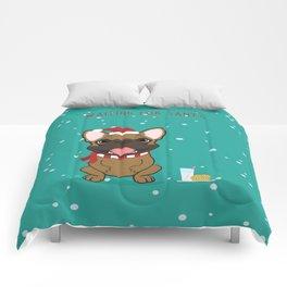 French Bulldog Waiting for Santa - Fawn edition Comforters