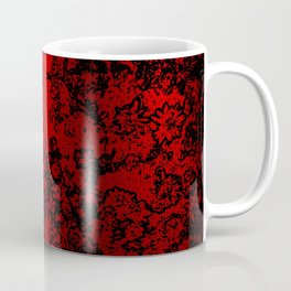 Red and black abstract decorative floral arabesque motif with metallic look Coffee Mug