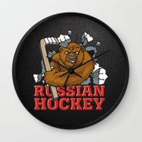 hockey Wall Clocks featuring HOCKEY by solomnikov