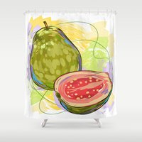 vietnam Shower Curtains featuring Vietnam Guava by Vietnam T-shirt Project