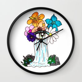 Flowers and waterfall Wall Clock